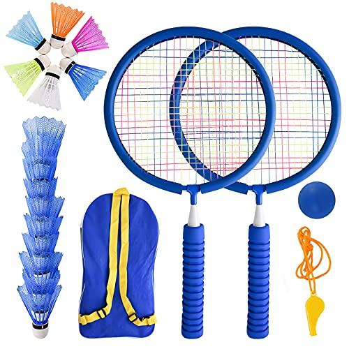 Herefun Kinder Schläger Set mit Federball, 23PCS Badminton Set für Kinder, Badminton Racket Spielzeug mit Schlägertasche, Badminton Bälle Outdoor Badmintonschläger, Federballspiel für Sport & Outdoor