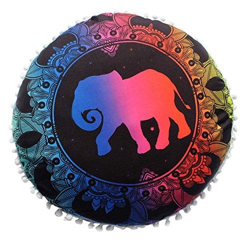 ZOUMOOL_ Pillow Cases Funda de Almohada Redonda de poliéster Decorativa, 18 x 18 Pulgadas, Colorida, con diseño de Elefante, para sofá