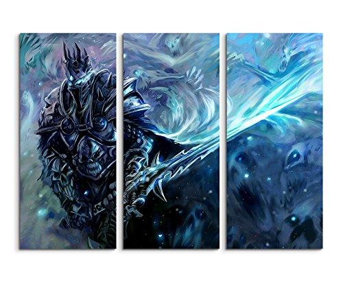 Keilrahmenbild auf Leinwand 3 teilig WOW Lich King 3x90x40cm (Gesamt 120x90cm) Ausführung schöner Kunstdruck auf echter Leinwand als Wandbild auf Keilrahmen