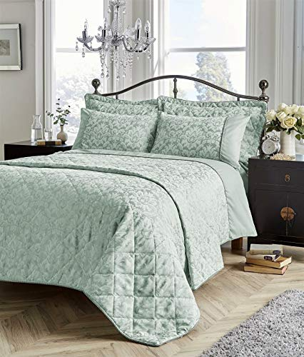 Select-ed Luxurious SAVOY Jacquard Duvet Cover Sets Bedding Sets Or Bed Spreads (Duck Egg, Double)