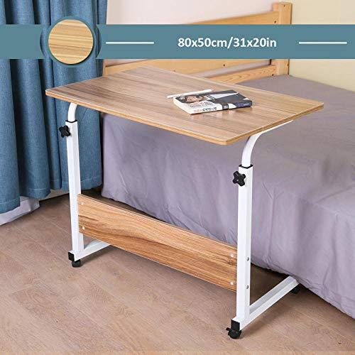 CHOUE Kohlenstoffstahl Beistelltisch Pflegebett mit Beige Density Board,Höhenverstellbar, Abschließbare Rollen,Tablet Bett für Schlafsofa Home Office