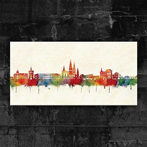 Kunstbruder Oldenburg Skyline - Farbe (div. Grössen) - Kunst Druck auf Leinwand 70x140cm