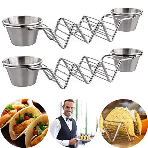 OLT-EU Tacos Mexicanos Soporte para Taco de Acero Inoxidable Taco Shell Soportes Alimentos de Estantes para Duros o Blandos Tacos Mexicanos Burritos Sandwiches 2 Piezas
