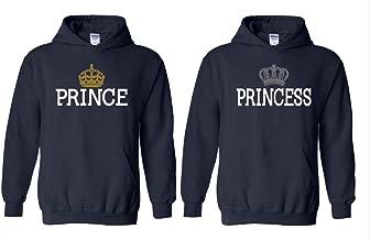 Blue Tees Prince Crown Gold&Princess Crown Silver Couple Unisex Hoodie