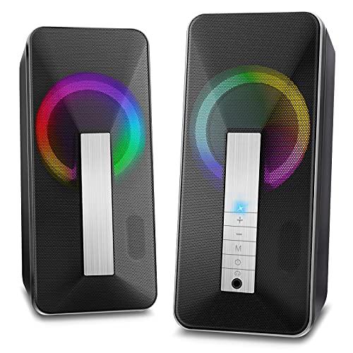 Altavoces PC Sobremesa,10W Altavoz USB & Bluetooth para Ordenador con Cable e Modo Inalámbrica, Sonido Estéreo de Doble Canal Multimedia para Ordenador Portátil Tableta Móvil MP3 Fiesta