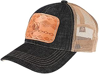 NRS Womens Ladies Tooled Leather Texas Cap OS Multi