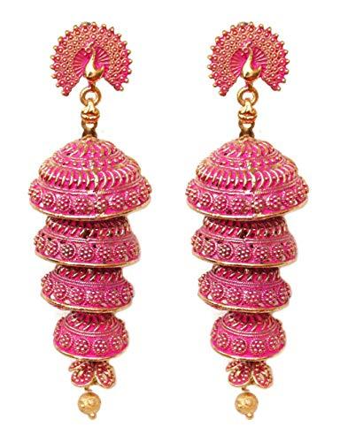 Pahal - Pendientes largos de oro Jhumka de Jaipur con capas de Jaipur con diseño de pavo real de la India del sur de Bollywood para mujer