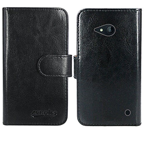 FoneExpert® Nokia Lumia 735 730 Handy Tasche, Wallet Hülle Flip Cover Hüllen Etui Ledertasche Lederhülle Premium Schutzhülle für Nokia Lumia 735 730 (Wallet Schwarz)