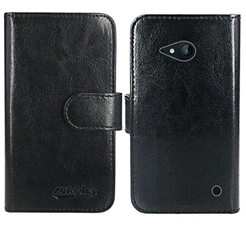 Nokia Lumia 735 730 Handy Tasche, FoneExpert® Wallet Hülle Flip Cover Hüllen Etui Ledertasche Lederhülle Premium Schutzhülle für Nokia Lumia 735 730 (Wallet Schwarz)