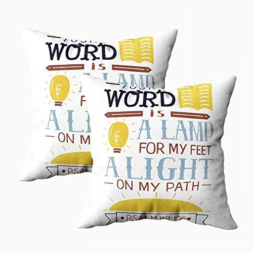 Funda de almohada artística, funda de almohada cuadrada, 2 piezas de Halloween, tu palabra, lámpara, mis pies, camino de luz, versículo bíblico, póster cristiano, nuevo y moderno, cojín de decoración