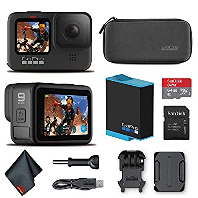 GoPro HERO9 Black - Waterproof Action Camera with Front LCD and Touch Rear Screens, 5K HD Video, 20MP Photos, 1080p Live Streaming, Stabilization + Sandisk 64GB Card and Cleaning Cloth by GoPro