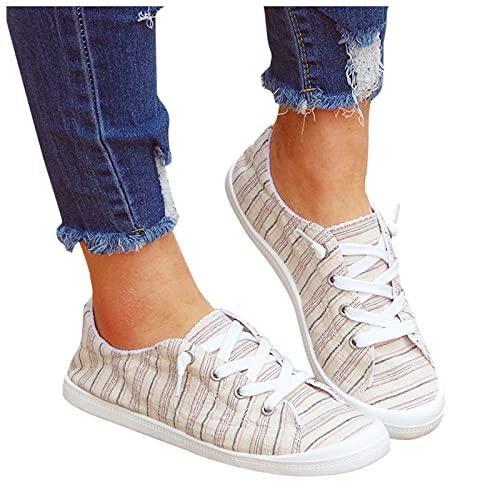 Xiangdanful Zapatillas de lona de corte bajo para mujer, zapatos planos, zapatos informales, para verano, otoño, zapatillas de lona beige 42