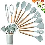 11-teiliges Silikon-Kochutensilien-Set, hitzebeständige Holzgriffe, Kochwerkzeug, BPA-frei, ungiftig, Silikonwender, Pfannenwender, Löffel, Küchenhelfer-Set für antihaftbeschichtetes Kochgeschirr grün