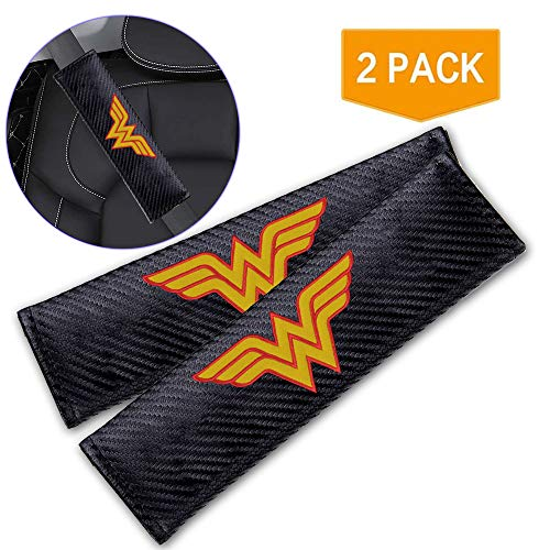 XIAOYES 2Pcs for Wonder Woman Car Seat Belt Covers Shoulder Pads, Embroidered Logo Black Leather Car Seat Belt Pads Safety Belt Cover Pad Auto Accessories for Wonder Woman