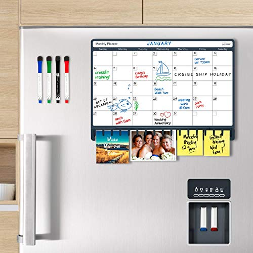 """Note Tower Magnetic Dry Erase Refrigerator Calendar, Combo White Board & Paper Holder, Organizes The Family & Unclutters Fridge Papers, Includes 4 Markers & Eraser, 12"""" x 17"""""""