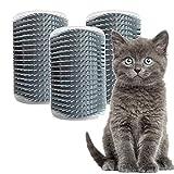 Pamura - 3 Stück Cat Cuddle Corner - Katzen Zubehör - Katzen Massage Ecke - Katzenbürste zur Fellpflege - inkl. Montagematerial - inkl. Katzenminze & Fach für Katzenminze - grau