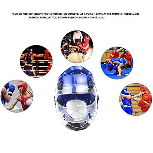 hinffinity Karate Schutzhelm für Kinder, Kopfschutz für Kickboxen, Taekwondo Karate Training, stoßfester Helm, Full Face Head Guard, blau, XL