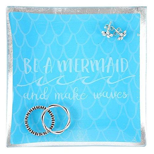Bleu vif Échelle Impression carré en céramique Bijoux Plat avec bord Argent & 'être une sirène et faire des vagues' frappée