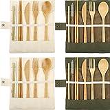 4 Juegos de Utensilios de Bambú Cubertería Juego de Cubiertos de Viaje de Bambú Tenedor Cuchara Cuchillo Palillos Pajitas de Bambú Cepillo de Metal