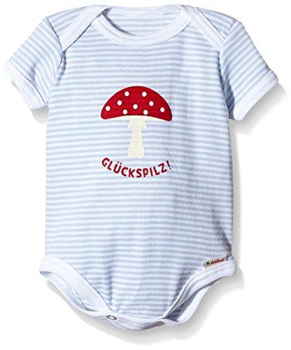 Adelheid Baby - Jungen Body Glückspilz Bio Strampler k. A. Albglück, Gestreift, Gr. 50 (Herstellergröße: 50/56), Mehrfarbig (ministreifen himmelblau 267)