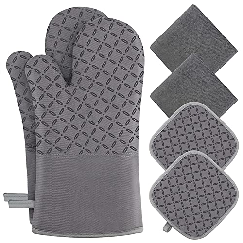 KEGOUU Oven Mitts and Pot Holders 6pcs Set, Kitchen Oven Glove High Heat Resistant 500 Degree Extra...