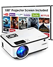 Save on Mini Projector, SHIMOR Portable Movie Projector with 100Inch Projector Screen, 1080P Supported Compatible with TV Stick, Video Games, HDMI,USB,TF,VGA,AUX,AV