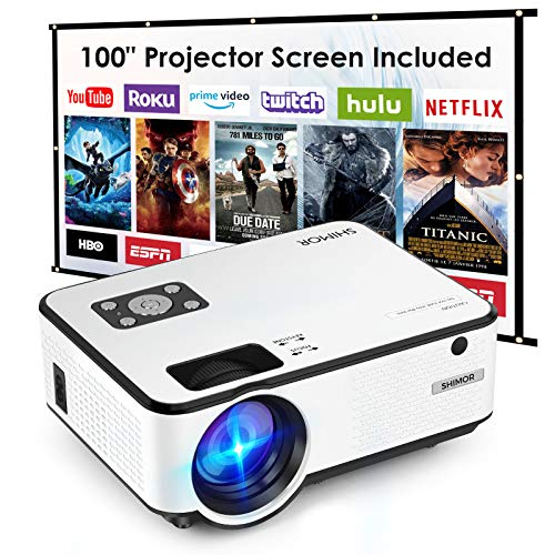 Mini Projector, SHIMOR C9 Portable Movie Projector with 100Inch Projector Screen, 1080P Supported Compatible with TV Stick, Video Games, HDMI,USB,TF,VGA,AUX,AV