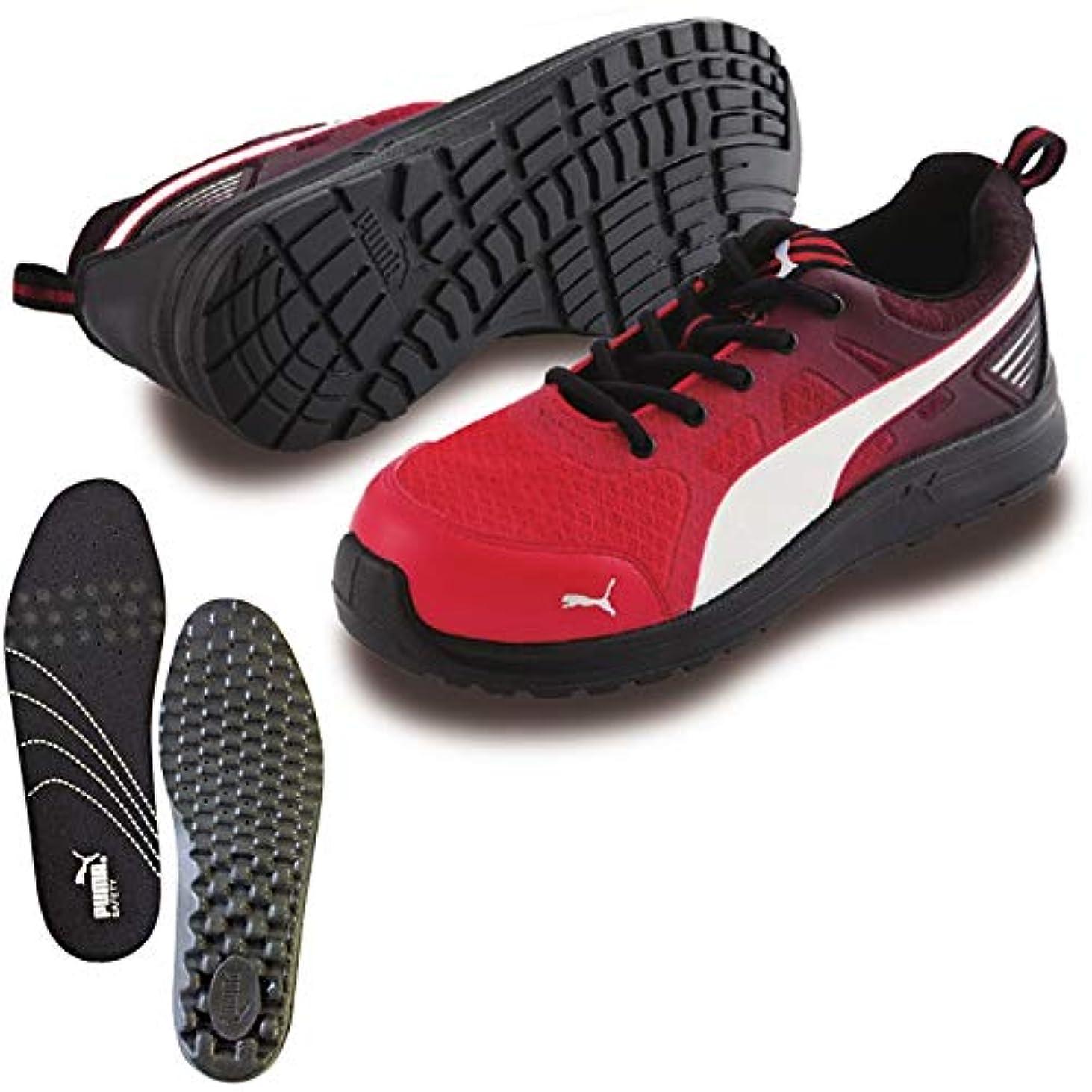 バラ色意味する放散するPUMA(プーマ) 安全靴 作業靴 マラソン レッド ロー 26.5cm 中敷き インソール付セット 64.336.0&20.450.0