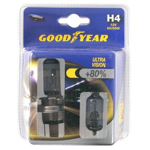 Goodyear 2 Lampes H4 12V 60/55W Ultra Vision +80%