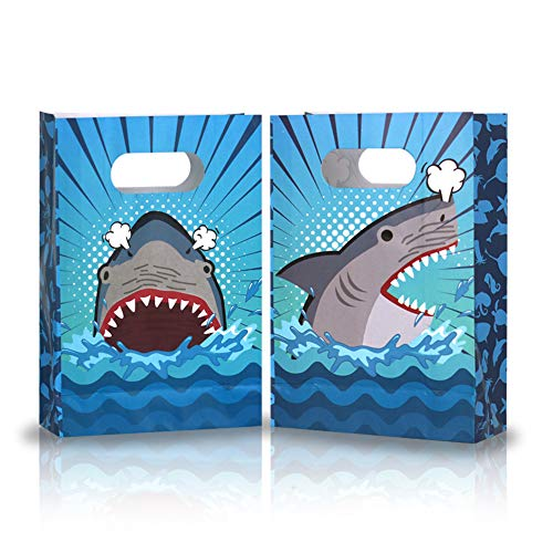 Friday Night Shark Party Favor Bags,2 Different Design Ocean Shark Treat Candy Bag for Birthday Baby Shower(24 Pcs)
