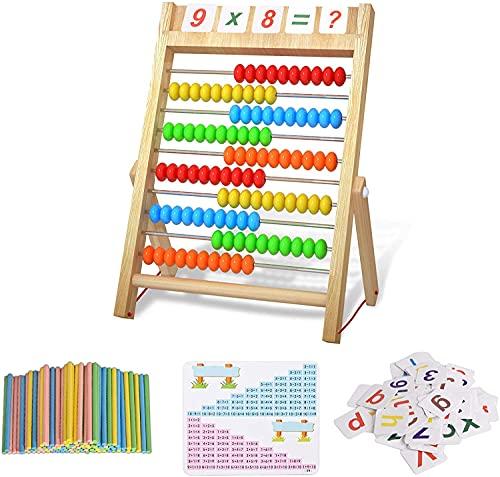 Bestdon rechenschieber Rechenrahmen Kinder Grundschule Abakus zum Zählen und Rechnen 100 mehrfarbigen Perlen mit Zählstäbchen, Zahlenalphabetkarten