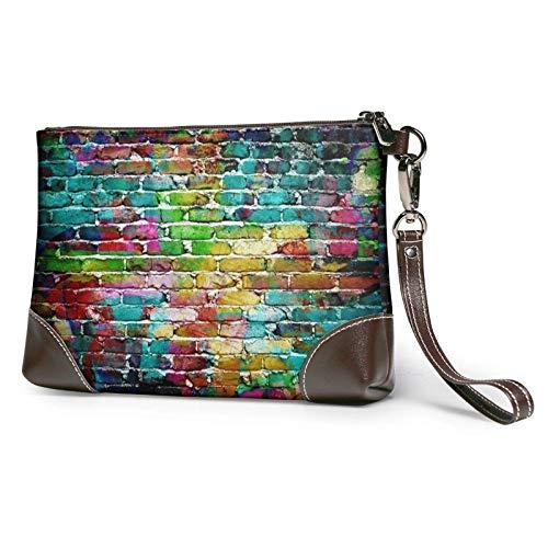 XCNGG Graffiti bunte Backstein gedruckt Clutch Geldbörse abnehmbare Leder Wristlet Brieftasche Damen Handtasche