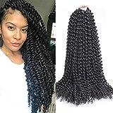 Leeven 18 Inch Passion Twist Hair 6 Pcs Synthetic Water Wave Passion Twist Crochet Braids Hair Crochet Braiding Hair for Black Women 1B