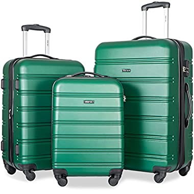 Merax Travelhouse Luggage 3 Piece Expandable Spinner Set (Green)