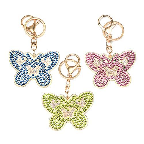 Gaddrt Schlüsselanhänger 3pcs DIY Spielzeug Schmetterling 5D Diamant Malerei Schlüsselbund Anhänger Geschenk