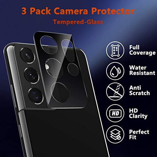 Ferilinso 3 Pack Camera Lens Protector for Samsung Galaxy S21 Ultra 5G [Tempered-Glass] [Case Friendly] [Military Protective] [Anti-Fingerprint] [Anti-Scratch]