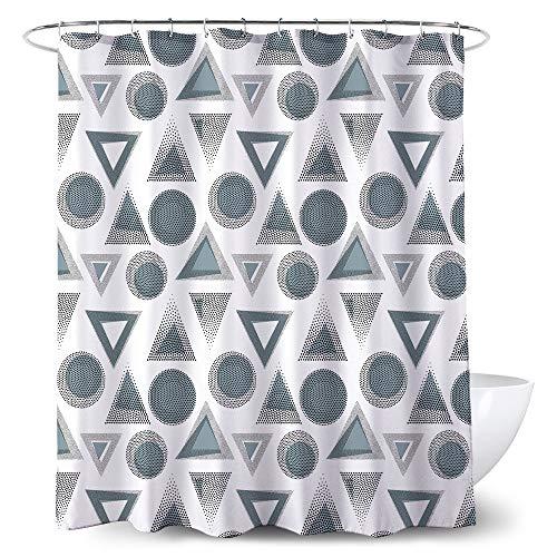 POPRUN Triangles Duschvorhang, 180X180, Geometrische Muster Design, 100prozent Polyester, inkl. 12 Ringe, wasserdicht, Anti-Schimmel
