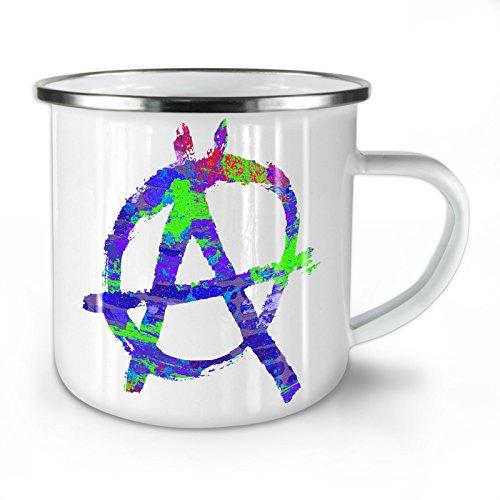 Wellcoda Anarchie Symbol Farbe Emaille-Becher, Graffiti - 10 Unzen-Tasse - Kräftiger, griffiger Griff, Zweiseitiger Druck, Ideal für Camping und Outdoor