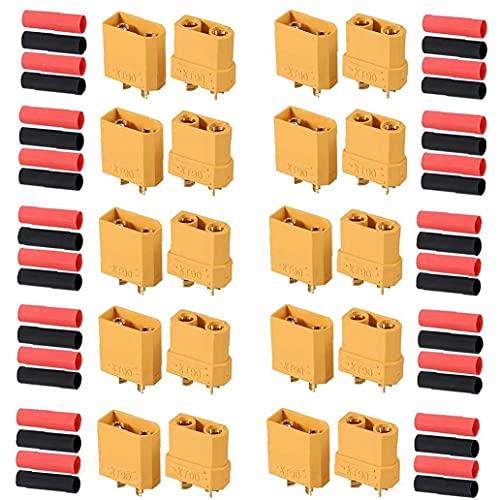 Connettori maschili femminili XT90 Lipo Kit con connettori batteria Lipo con tubo termorestringente 10Pairs