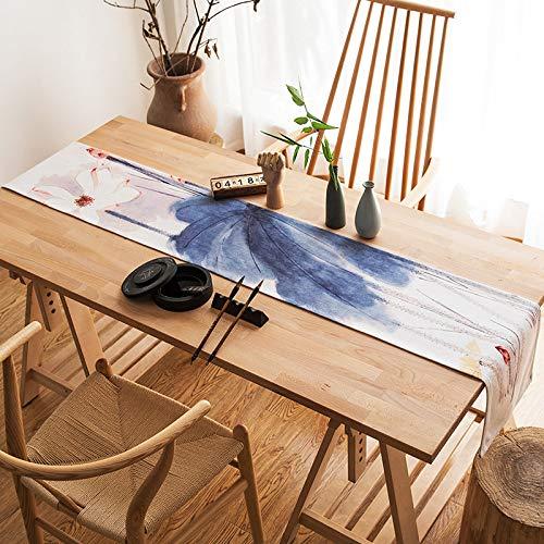 Camino De Mesa Arte Chino Clásico Zen Tea Table Runner Tinta Azul Lotus Tela Impresas Algodón Algodón Largo Rectángulo Indicador De Tabla Tabla Impermeable De Tela Para La Decoración Del Hogar 30