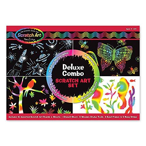Melissa & Doug Deluxe Combo Scratch Art Set: 16 Boards, 2 Stylus Tools, 3 Frames