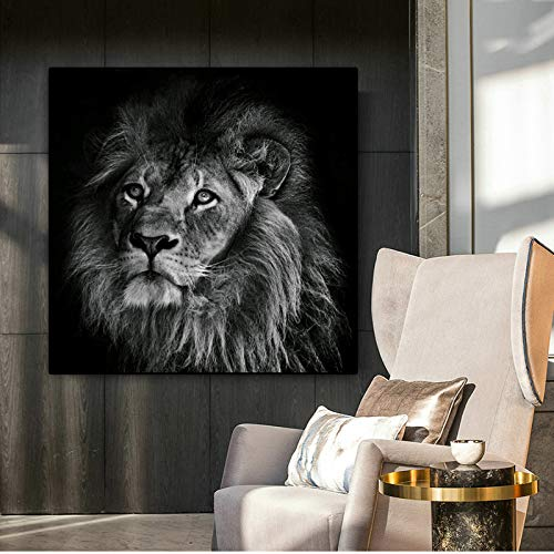 YHZSML Poster Wandkunst Leinwand Malerei Animal Print Lion Wandbilder Für Wohnzimmer Drucke Wohnkultur Bilder Ungerahmt A 50x50 cm