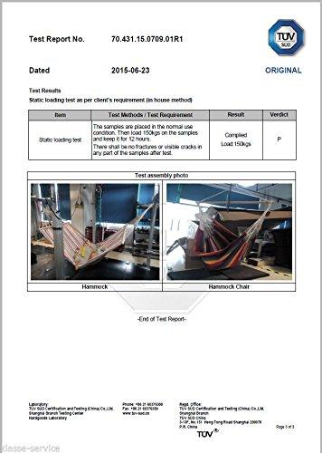 Kronenburg Hängesessel / Hängestuhl XL mit Querholz – Belastbarkeit bis 150 kg Bunt - 5