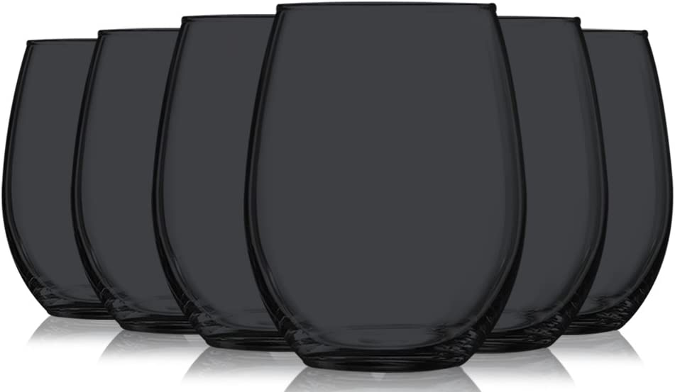Black Finally popular brand Full Accent Stemless 15 oz Wine Glasses 6 gift Set Tabl of by -