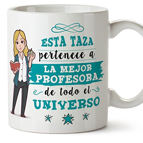 MUGFFINS Taza Profesora (Mujer) - La Mejor Profesora del Universo - Regalos...