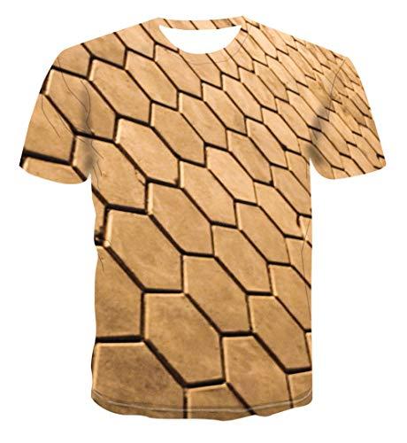 Carnaval carnaval Unisex 3D print heren T-shirt zomer casual korte mouwen Fun T-stukken goudgele geometrie mode streetwear