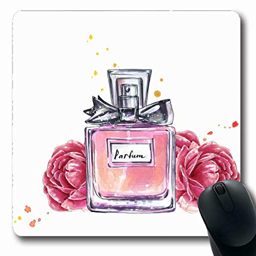 Mousepad Oblong Pink Parfum Parfüm Flasche Blumen Aquarell Skizze Schönheit Vintage Accessoire Aroma Blooming Bouquet Rutschfeste Gummi Mauspad Büro Computer Laptop Spielmatte