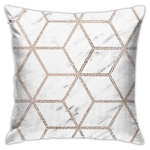 FETEAM Olympia Rose Marble Geometry Square (45cmx45cm) Almohada Hogar Cama Habitación Decoración...
