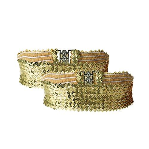 uxcell Ladies Sequins Decor Metal Interlocking Buckles Elastic Waist Belt Gold 2pcs