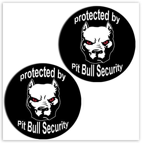 SkinoEu® 2 Stück Vinyl Aufkleber Autoaufkleber Sticker Dog Hund Pitbull Security Auto Motorrad Fahrrad Tuning B 104
